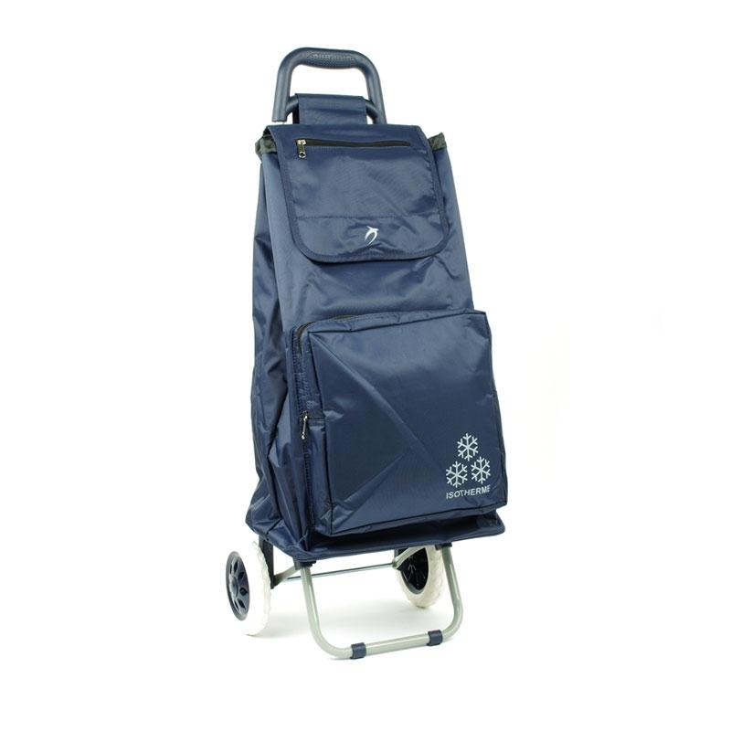 030 Torba wózek na zakupy na kółkach z kieszenią termiczną - Airtex granatowy niebieski