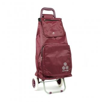 030 Torba wózek na zakupy na kółkach z kieszenią termiczną - Airtex bordowy