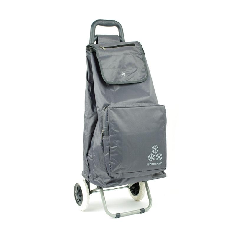 030 Torba wózek na zakupy na kółkach z kieszenią termiczną - Airtex szary