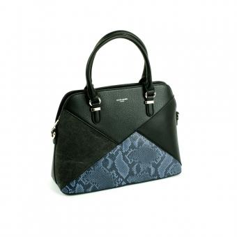 6274-1 Damska torebka skórzana kuferek motyw węża - David Jones czarna