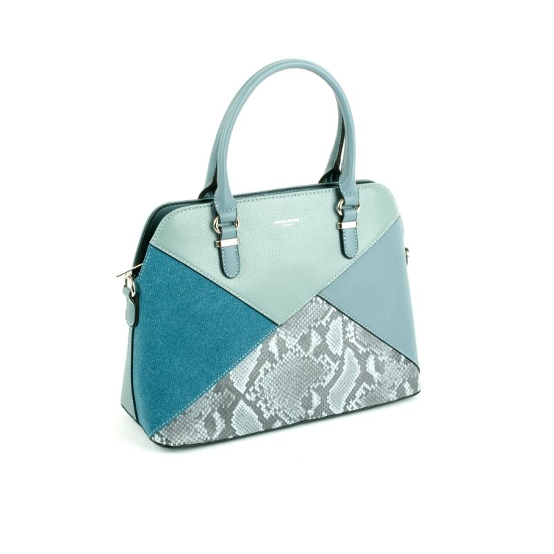 6274-1 Damska torebka skórzana kuferek motyw węża - David Jones niebieska błękitna