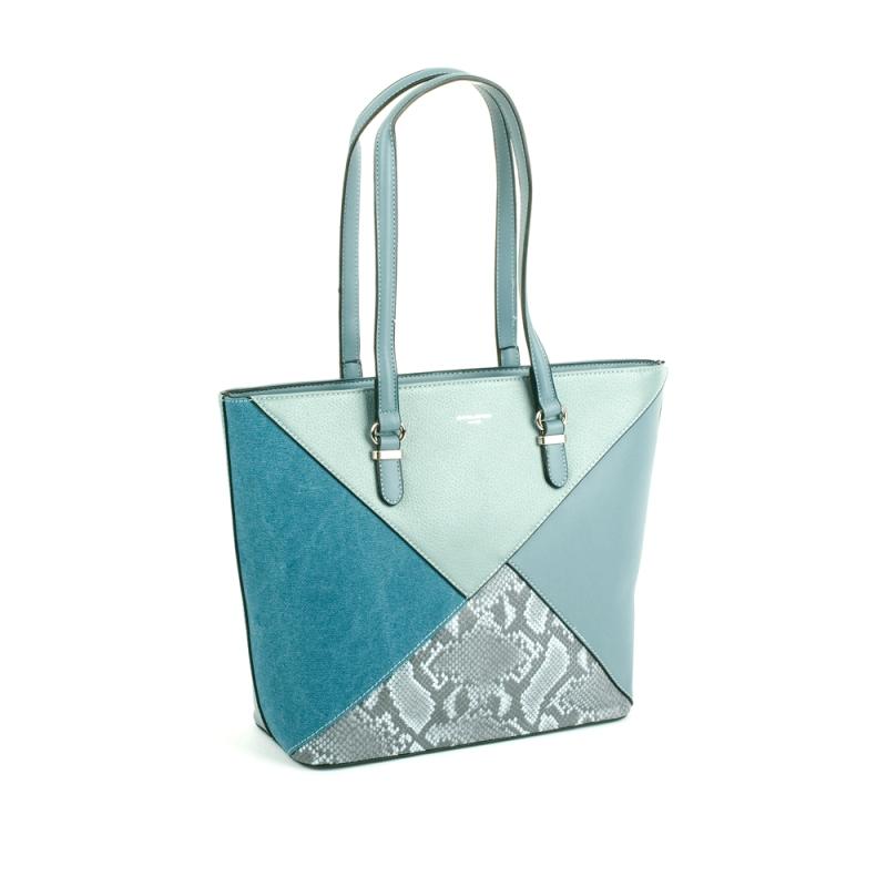 6274-2 Damska torebka skórzana łódka motyw węża - David Jones niebieska błękitna