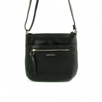 6214-2 Mała torebka na długim pasku listonoszka - David Jones czarna