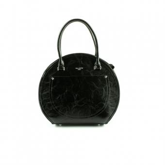 YY65003 Okrągła damska skórzana torebka na długim pasku - Gallantry czarna