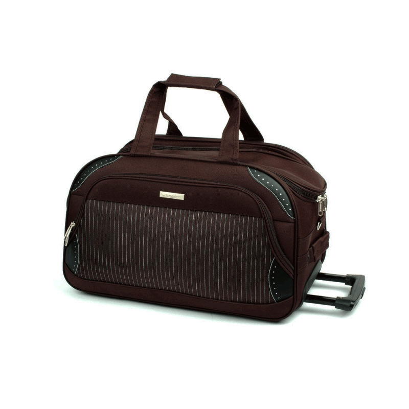 FB6 Duża torba podróżna na kółkach usztywniana 80l - Laurent brązowa ciemna, czekoladowa