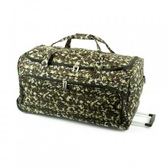 824/75 Duża torba podróżna na kółkach miękka moro - Airtex zielona