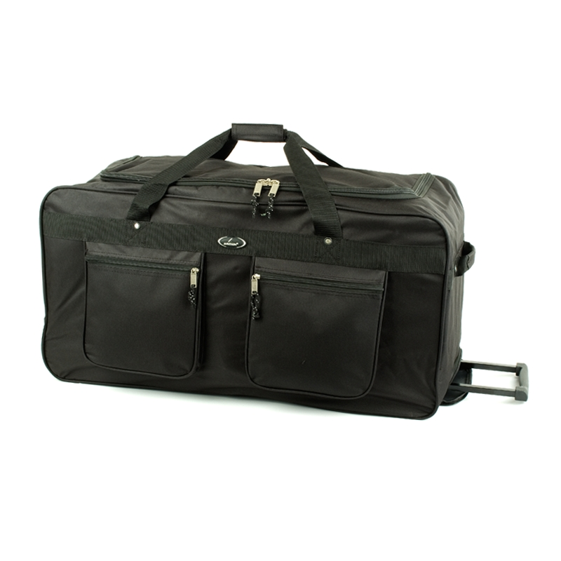 30039 Duża torba podróżna na kółkach z kieszeniami - Snowball czarna