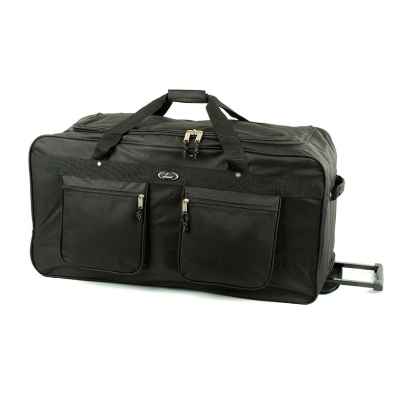 30037 Duża czarna torba podróżna na kółkach z kieszeniami 165l - Snowball czarna