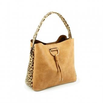 2888 Duża damska torebka worek z długim paskiem leopard - TOM&EVA beżowa