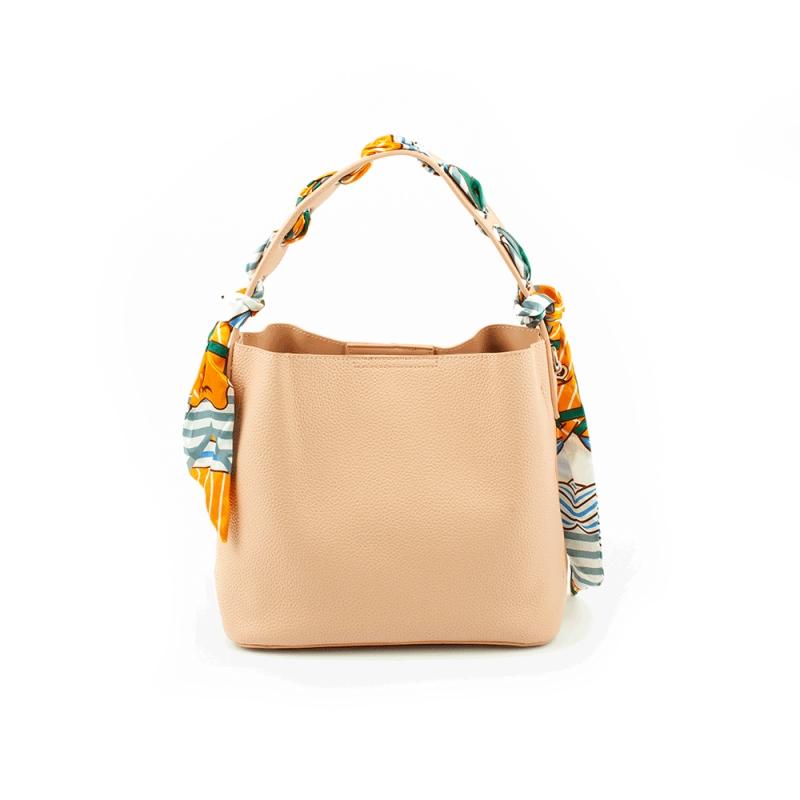 2792 Duża damska torebka worek na ramię z kokardą - TOM&EVA różowa jasna