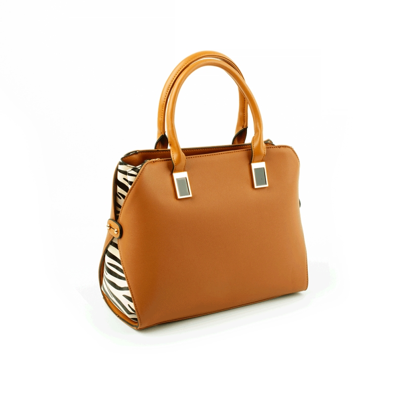 6777 Damska torebka do ręki kuferek z zebrą - TOM&EVA brązowa