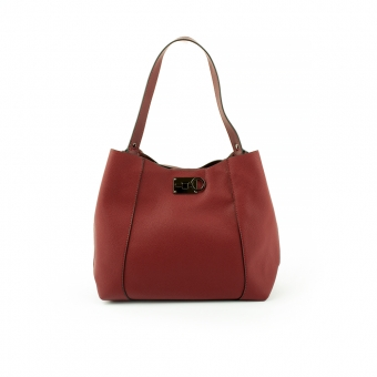 2570 Damska torebka na ramię z ciekawym zapięciem - TOM&EVA czerwona