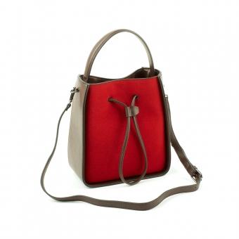 6732 Damska welurowa torebka do ręki z długim paskiem zamszowa - TOM&EVA czerwona