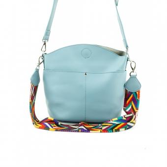 1366 Damska torebka listonoszka na kolorowym pasku - TOM&EVA niebieska