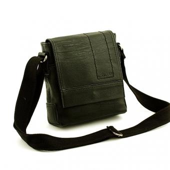 SD060-3 Średnia torba męska na ramię listonoszka z klapą - S.DELLI czarna
