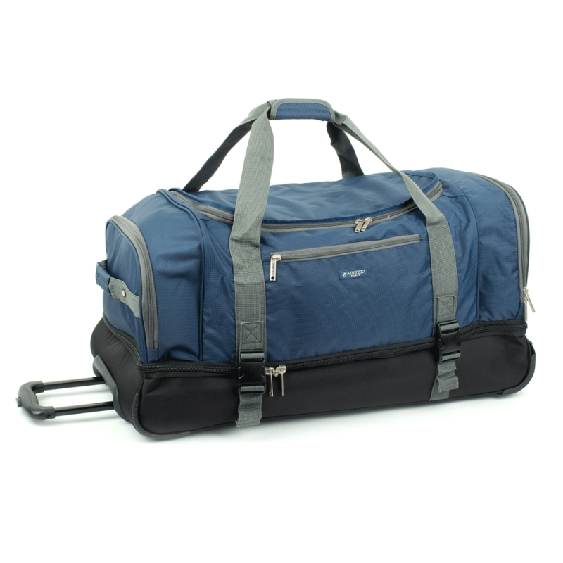 Duża torba podróżna na kółkach z podwójnym dnem 110L - Airtex 819/80 granatowa