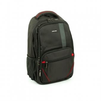 Duży elegancki plecak na laptopa 17 cali czarny - David Jones PC024 z czerwonym