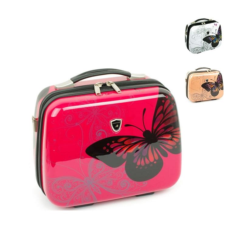 Kuferek na kosmetyki, kosmetyczka podróżna z motylem - Madisson 16820V