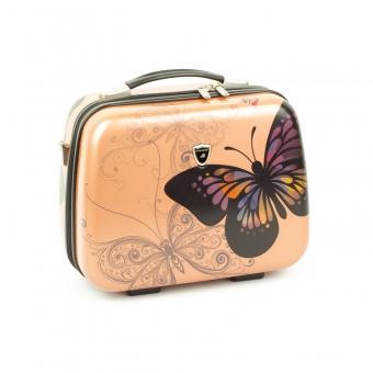 Kuferek na kosmetyki, kosmetyczka podróżna z motylem - Madisson 16820V różowy jasny