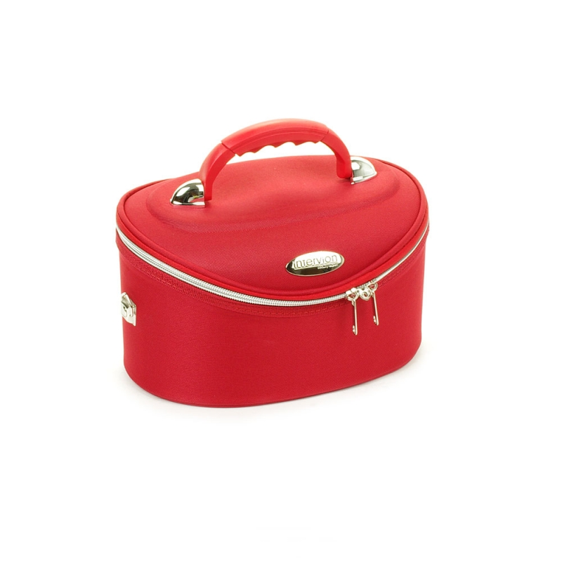 Średni kuferek na kosmetyki, kosmetyczka podróżna - Inter-Vion czerwony