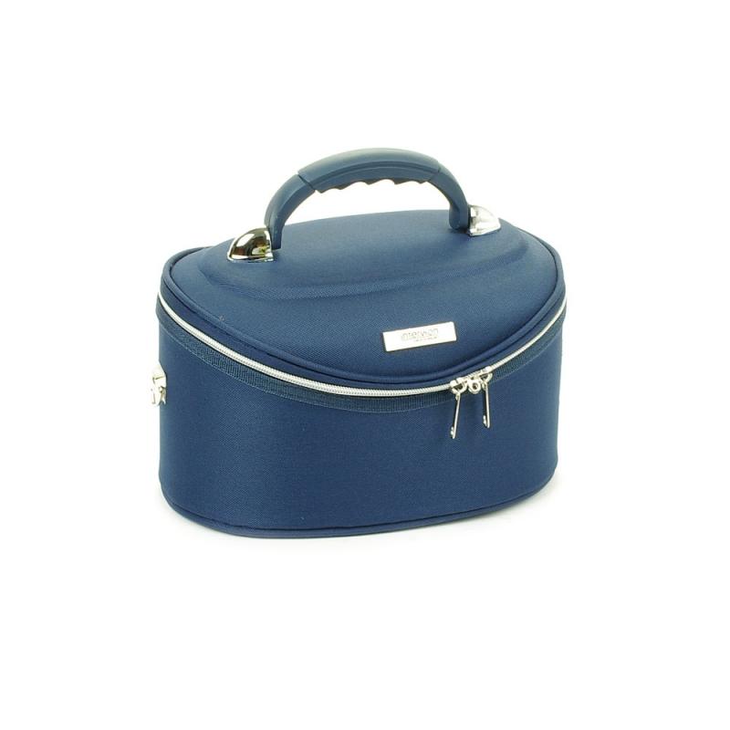 Mały kuferek na kosmetyki, kosmetyczka podróżna - Inter-Vion granatowy