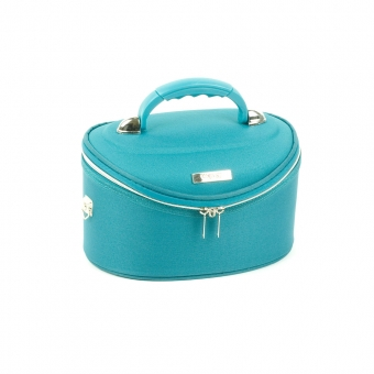 Mały kuferek na kosmetyki, kosmetyczka podróżna - Inter-Vion niebieski