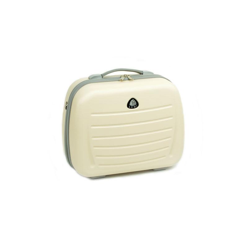 Duży kuferek na kosmetyki kosmetyczka podróżna do walizki - ORMI 189 kremowy