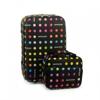 Mała walizka na kółkach kolorowa w kropki torba gratis - David Jones