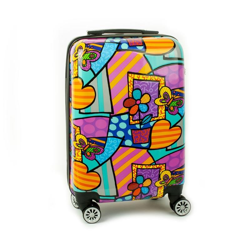 Mała kolorowa walizka na 4 kółkach dla dzieci młodzieżowa serca 96820B