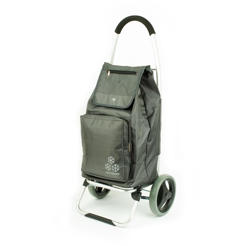 Torba wózek na zakupy na dużych kółkach z termoizolacją Airtex 026 szary