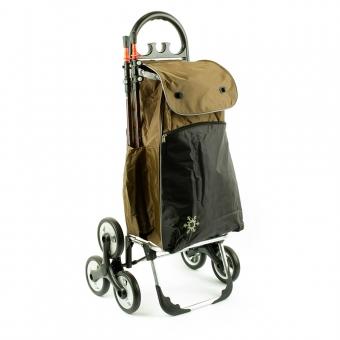 Wózek na zakupy torba na 3 kółkach na schody AURORA Paris 0016 brązowy