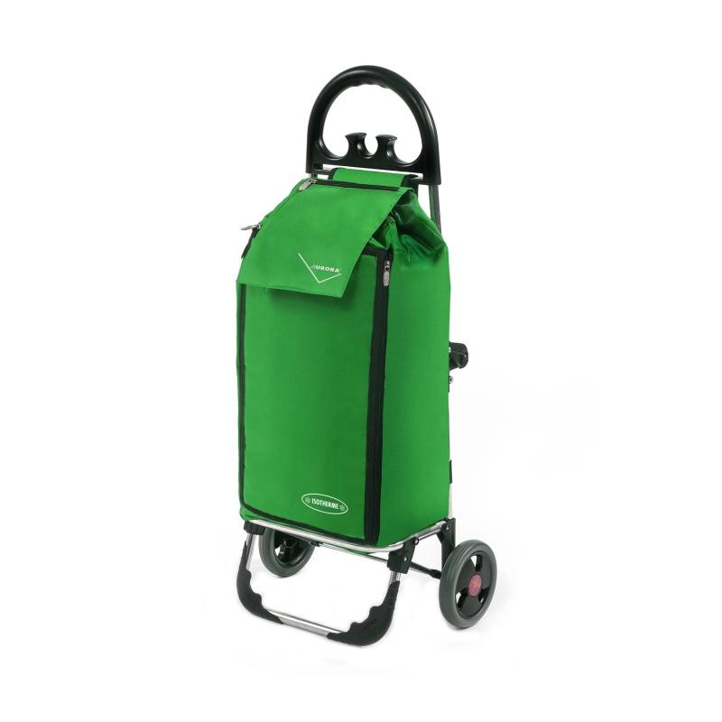 Wózek na zakupy torba na kółkach termiczna składana AURORA AU138 zielony