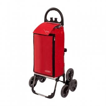 Wózek na zakupy trójkołowy torba na kółkach na schody AURORA 109 czerwony