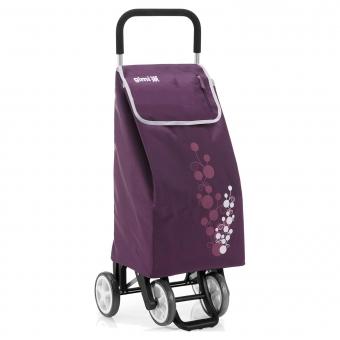 Torba wózek na zakupy na czterech kółkach do pchania GIMI Twin fioletowy