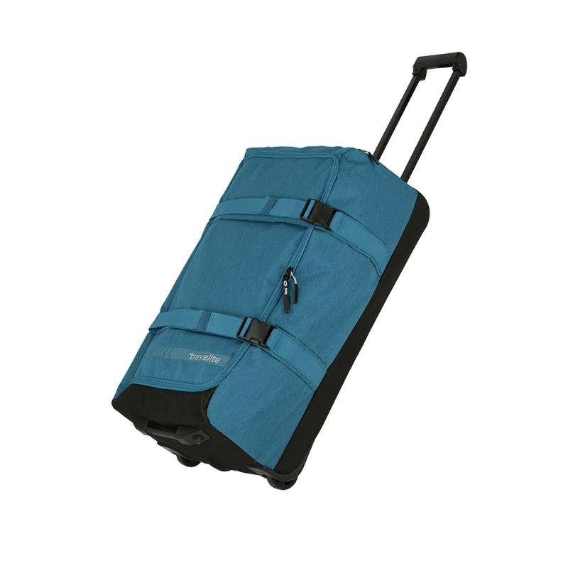 Średnia torba podróżna na kółkach kompresyjna miękka 60l Travelite niebieska
