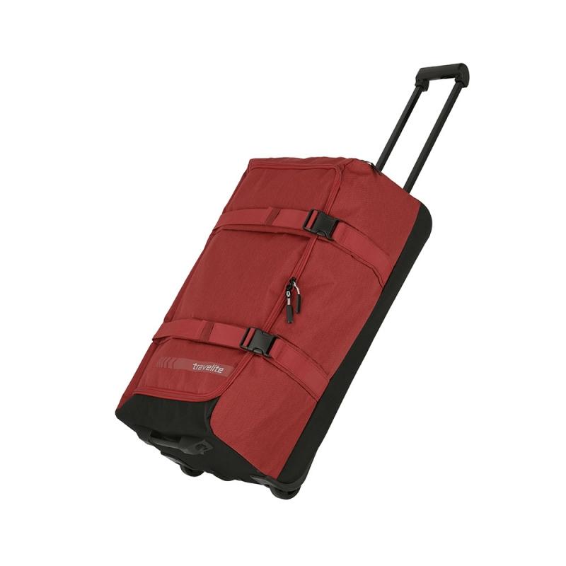 Średnia torba podróżna na kółkach kompresyjna miękka 60l Travelite czerwona