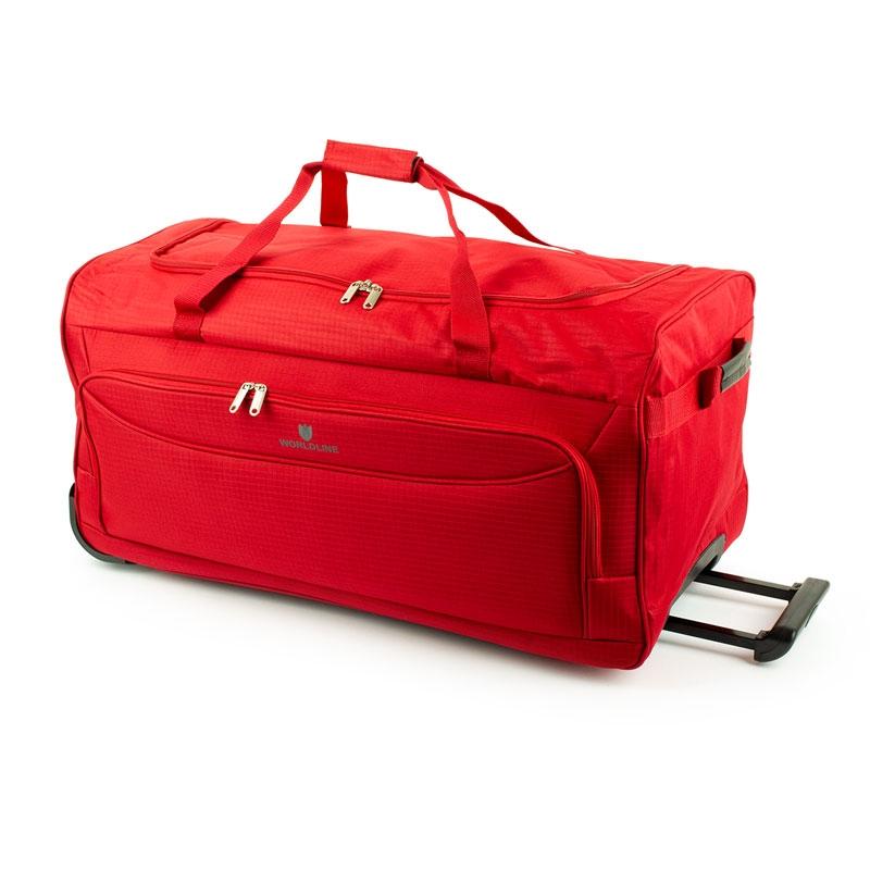 Torba podróżna na kółkach z materiału tania 90l - Airtex 898/75 czerwona